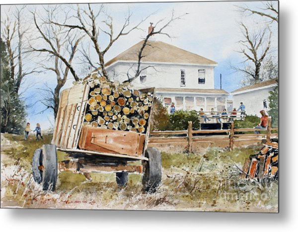Wood Wagon Metal Print