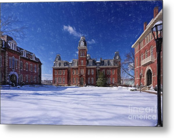 Woodburn Hall In Snow Strom Paintography Metal Print