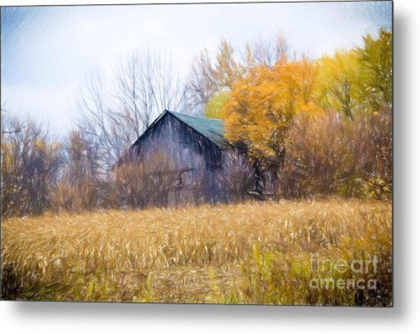 Wooden Autumn Barn Metal Print