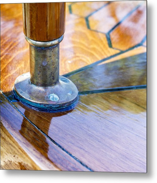 Wooden Boat Flag Staff Metal Print