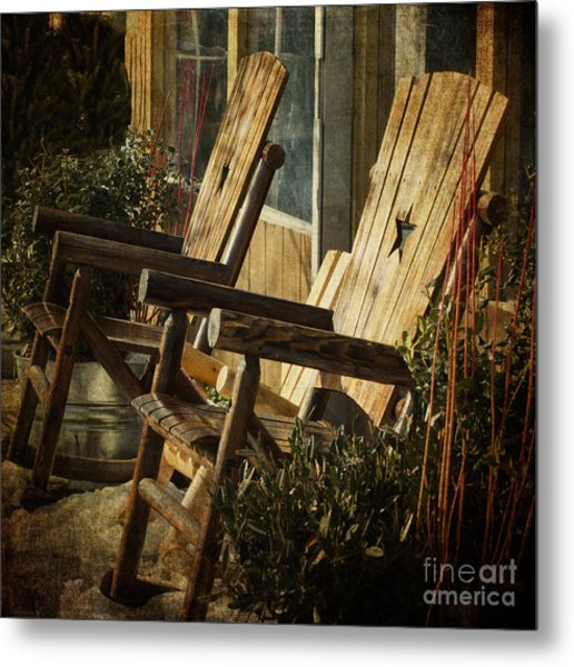 Wooden Chairs Metal Print