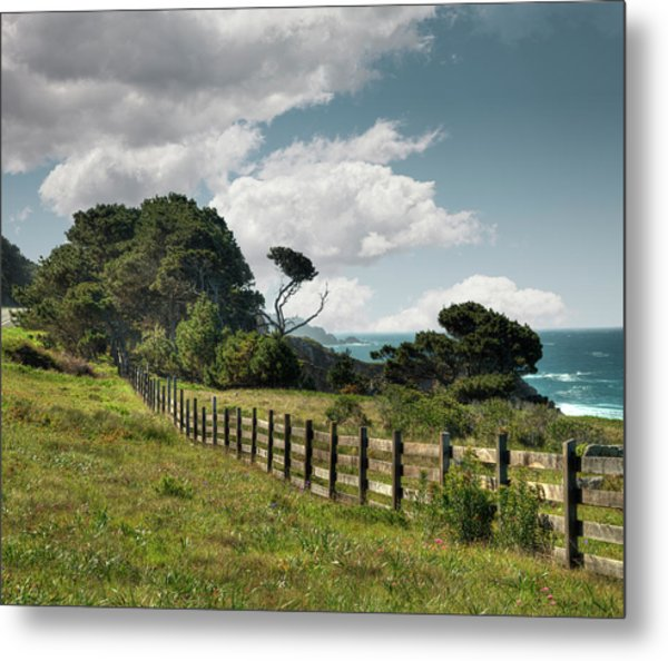 Wooden Fence Along California Coast Metal Print by Ed Freeman
