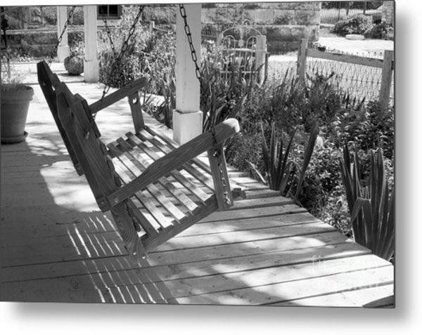 Wooden Front Porch Swing Metal Print