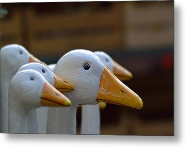 Wooden Geese Metal Print