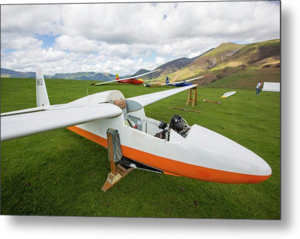 Wooden Gliders Preparing To Take Off Metal Print