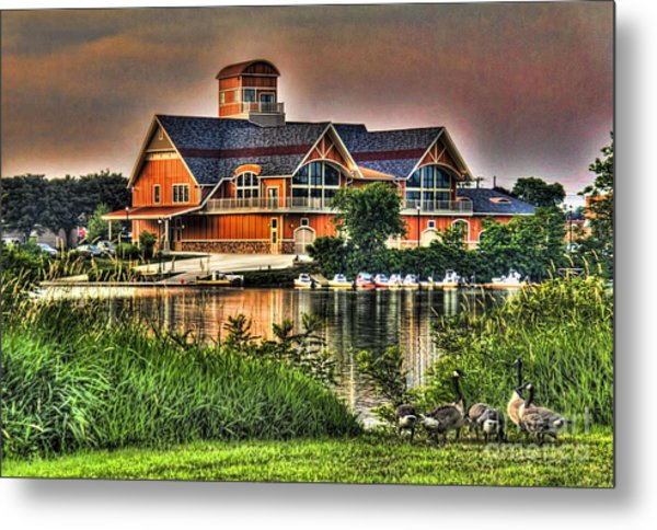 Wooden Lodge Over Looking A Lake Metal Print