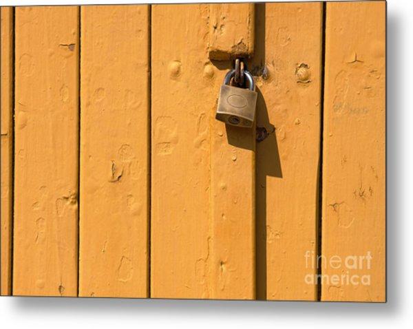 Wooden Plank Door Steel Lock Metal Print