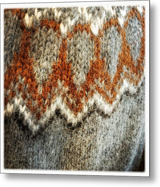 Woolen Jersey Detail Grey And Orange Metal Print
