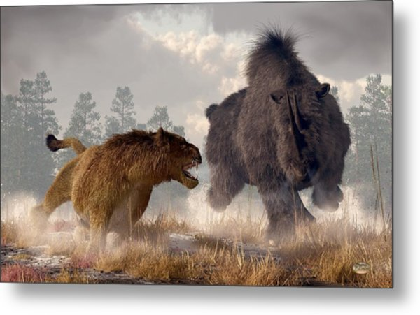 Metal Print featuring the digital art Woolly Rhino And Cave Lion by Daniel Eskridge