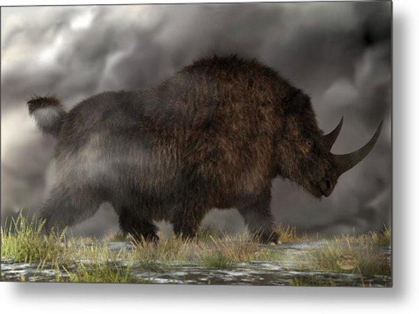Woolly Rhinoceros Metal Print