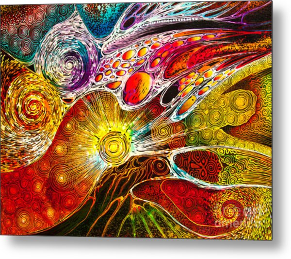 Work On Batik Painting Abstract Colorful Metal Print