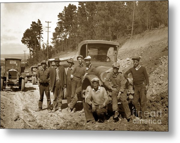 Workers On Highway One Monterey Carmel Hill California 1929 Metal Print
