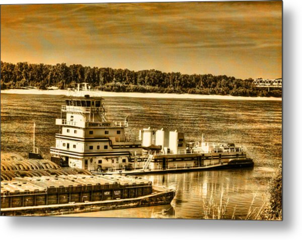 Working The River - Mississippi River Metal Print