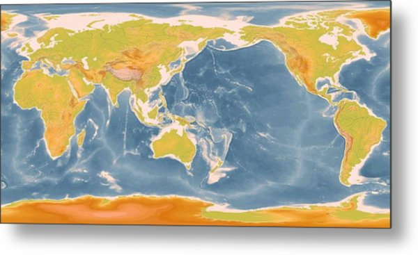 World Geographic Map Enhanced Metal Print by L Brown