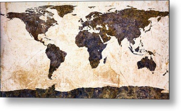World Map Abstract Metal Print