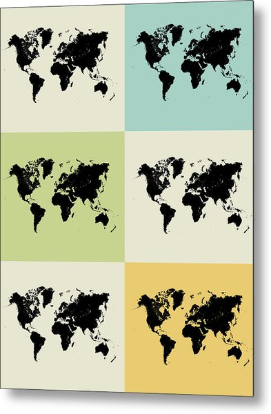 World Map Grid Poster Metal Print