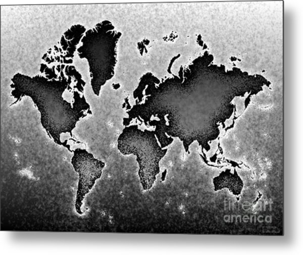 World Map Novo In Black And White Metal Print