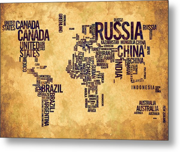 World Map Typography 6 Watercolor Painting Metal Print