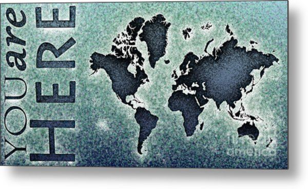 World Map You Are Here Novo In Black And Blue Metal Print