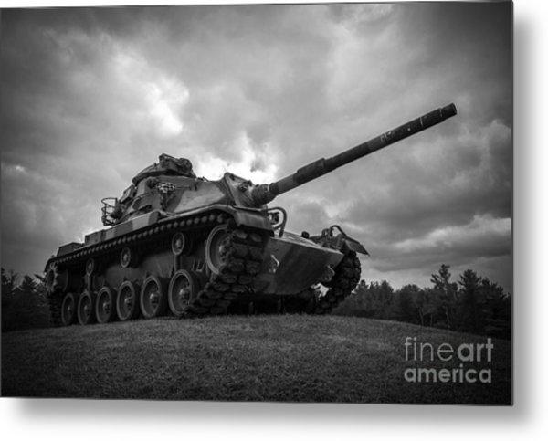 World War II Tank Black And White Metal Print