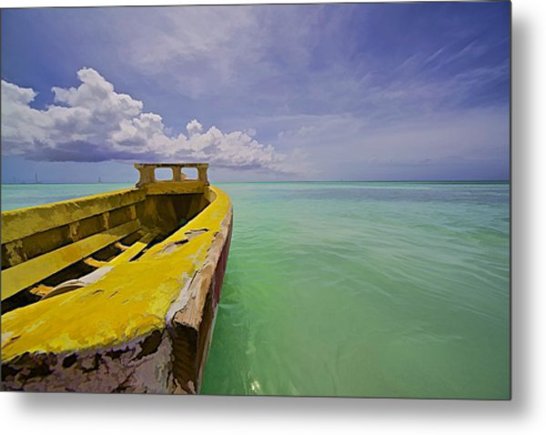 Worn Yellow Fishing Boat Of Aruba II Metal Print