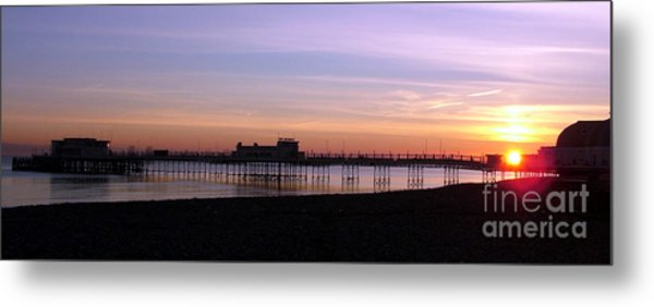 Worthing Pier Sunset Metal Print by Mark Bowden