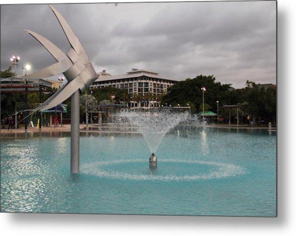 Woven Fish Fountain. Metal Print