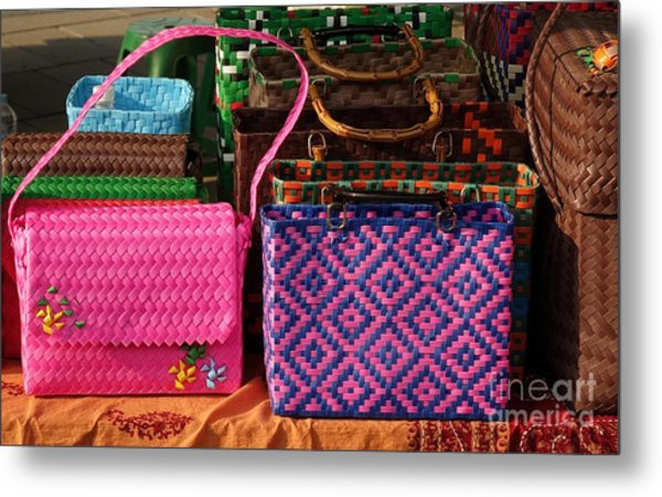 Woven Handbags For Sale Metal Print