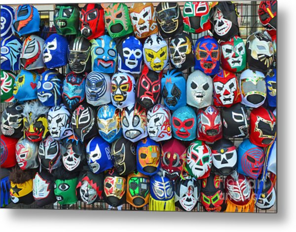 Wrestling Masks Of Lucha Libre Metal Print
