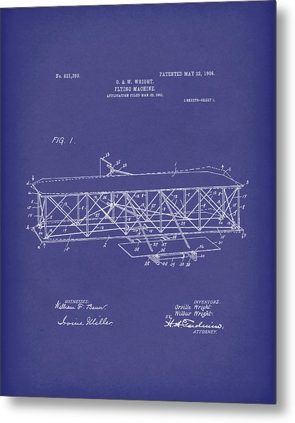 Wright Brothers Flying Machine 1906 Patent Art Blue Metal Print