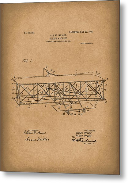 Wright Brothers Flying Machine 1906 Patent Art Brown Metal Print