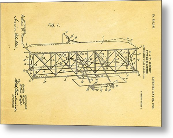 Wright Brothers Flying Machine Patent Art 1906 Metal Print