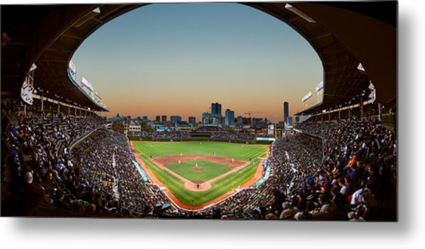 Wrigley Field Night Game Chicago Metal Print