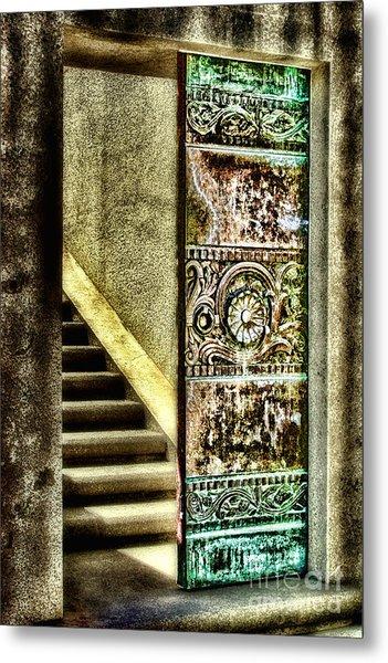 Wrigley's Tower Bronze Doors By Diana Sainz Metal Print