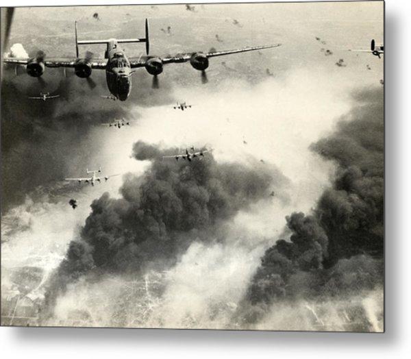 Wwii B-24 Liberators Over Ploesti Metal Print