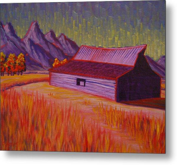 Wyoming Barn In Red Metal Print