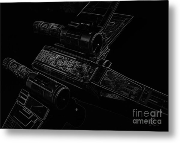 X Wing Fighter Bw Metal Print