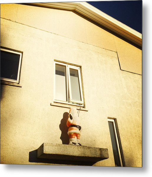 Xmas Decoration With Santa In June Akureyri Iceland Metal Print