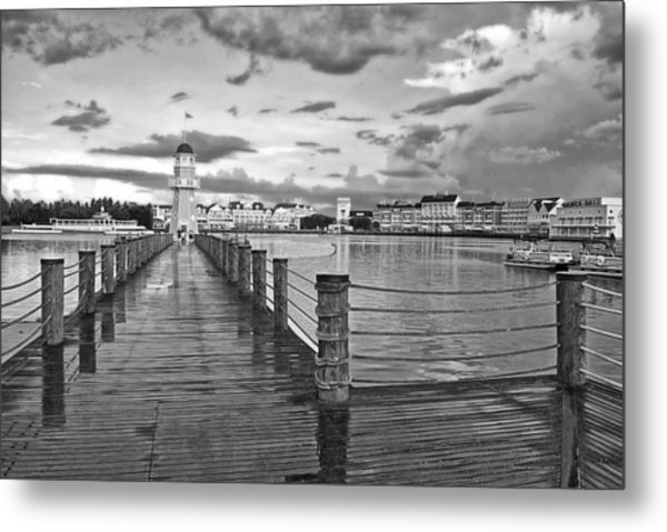 Yacht And Beach Lighthouse In Black And White Walt Disney World Metal Print