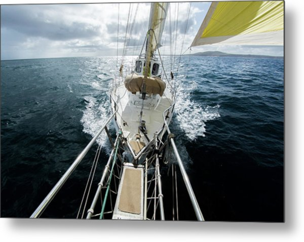 Yacht Sailing On The Southern Ocean Metal Print by John White Photos