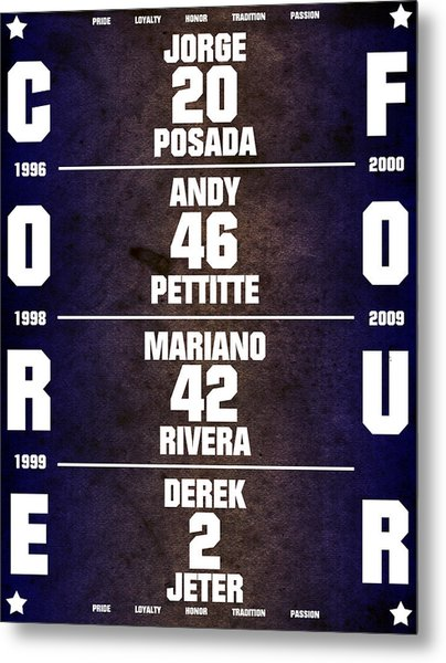 Yankees Core Four Chart Metal Print