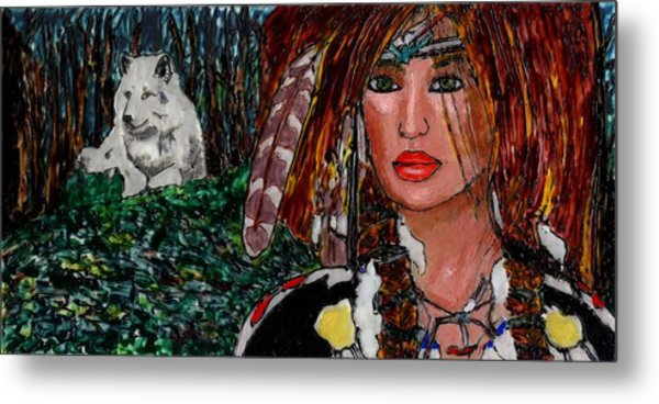 Yanne And Silver Wolf Metal Print