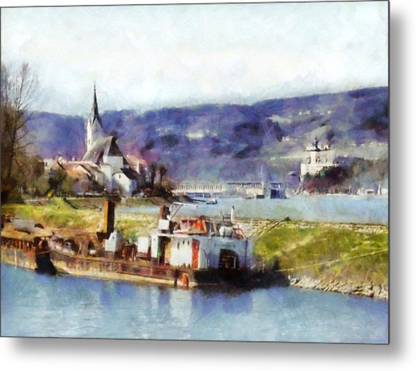 Metal Print featuring the painting Ybbs An Der Donau Harbour by Menega Sabidussi