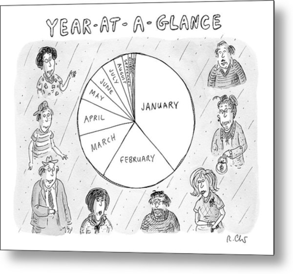 Year At A Glance--a Pie Chart Of The Months Metal Print