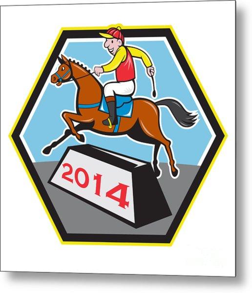 Year Of Horse 2014 Jockey Jumping Cartoon Metal Print by Aloysius Patrimonio