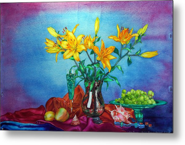 Metal Print featuring the painting Yellow Lily In A Vase by Xavier Francois