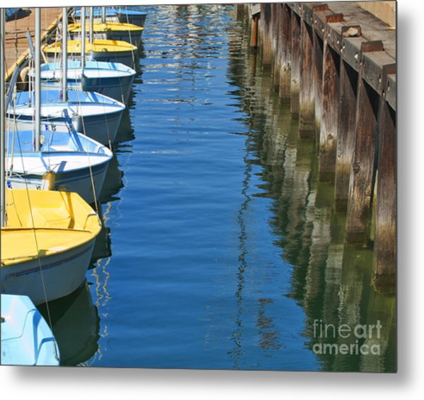 Yellow And Blue Sailboats From The Book My Ocean Metal Print