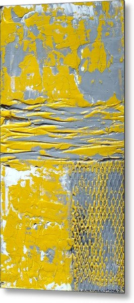 Yellow And Gray Abstract Painting Urban Chic Metal Print