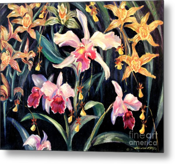 Yellow And Pink Orchids Metal Print