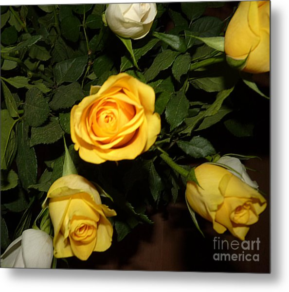 Yellow And White Roses Metal Print